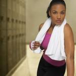African American woman in gym health club